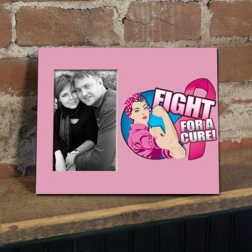 VictoryStore Gift Frame - Breast Cancer Awareness Picture Frame #6 - Fight for a Cure with Rosie the Riveter - Holds 4
