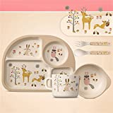 Per 5pcs Cartoon Tableware Set Plate+Fork+Bowl+Cup+Spoon Bamboo Fiber Eco-Friendly Feeding Set For Kids Toddlers Boys and Girls(C)