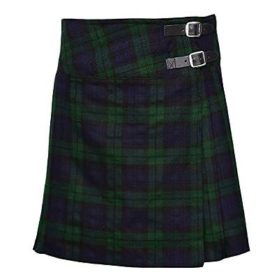 """Ladies Knee Length Kilt Skirt 20"""" Length Tartan Pleated Kilts - Black Watch"""