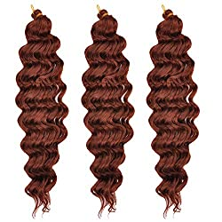 MYCHANSON 20inch Synthetic deep Wave Hair Extensions Water Wave Synthetic Braiding Curly Hair 3 Bundles low temperature synthetic hair 80g/pcs (Dark Brown)