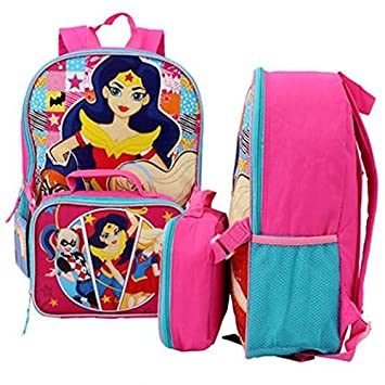 Amazon.com: DC Comics Super Girls Backpack with Lunch Bag - 16 ...