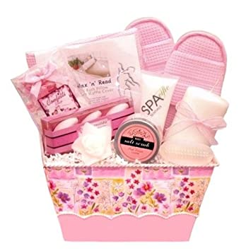 Amazon Com Pampering Pink Bath Body Spa Gift Basket For Women