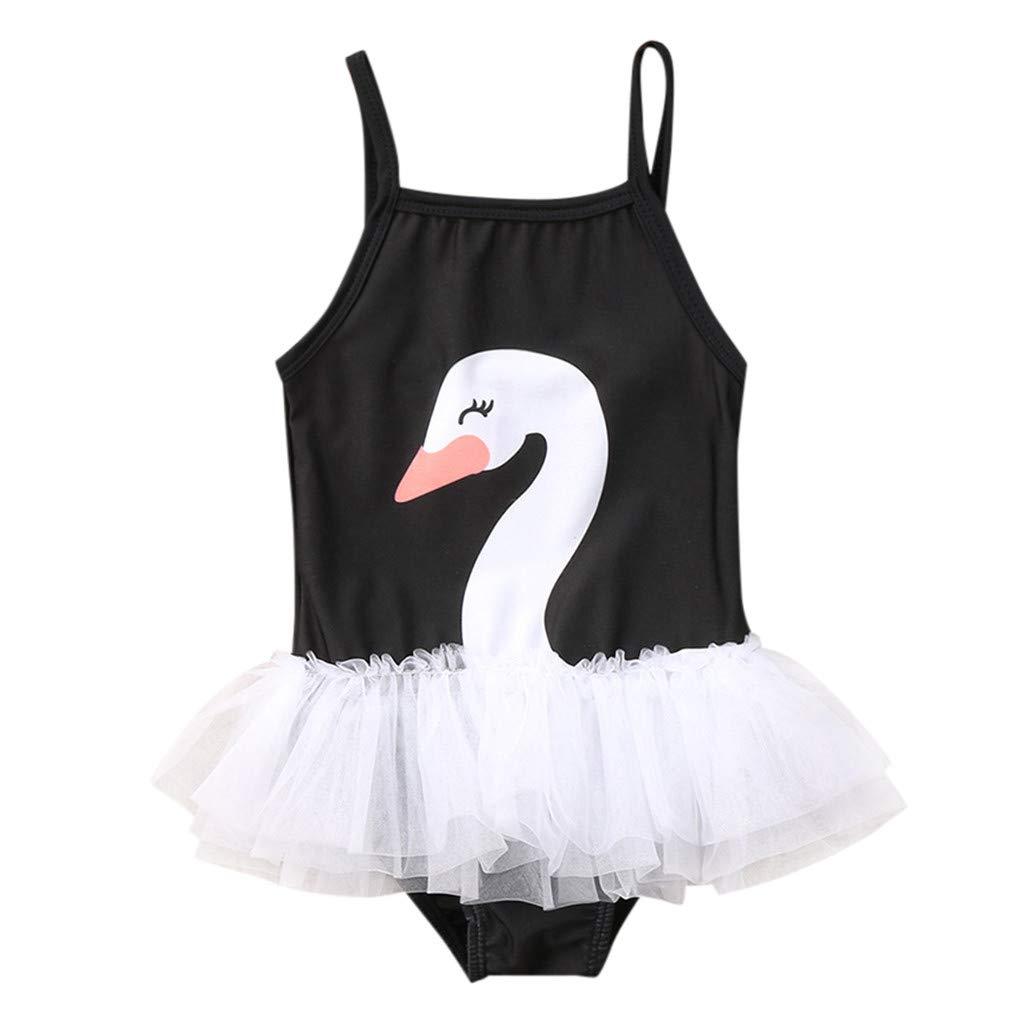 WUAI Toddler Baby Girls One Piece Swan Swimsuits Ruffle Tutu Bathing Suit Beachwear(Black,18-24 Months)