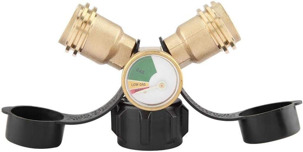 Eastbuy Gasadapteranschluss Messing-Y-Splitter-T-Adapter BBQ-Adapteranschluss mit Tankmanometer-Druckmesser