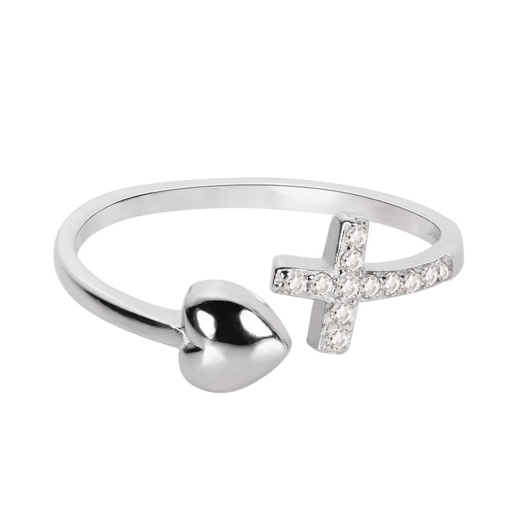 CloseoutWarehouse Cubic Zirconia Love of Jesus Cross Heart Ring Sterling Silver Size 8