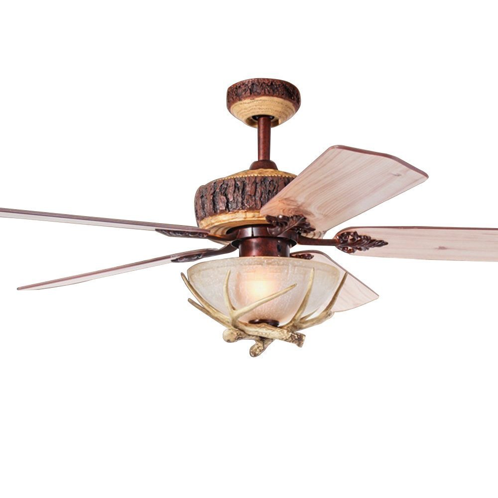 Tropicalfan Rustic Ceiling Fan With 1 Light Cover Indoor Home Decoration Living Room Antlers Silent Industrial Fans Chandelier 5 Wood Blades 52 Inch
