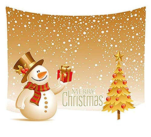 Christmas Tree Wall Tapestry Room Xmas Snowman Wall Hangings Blanket Gold 51 x 59 inches