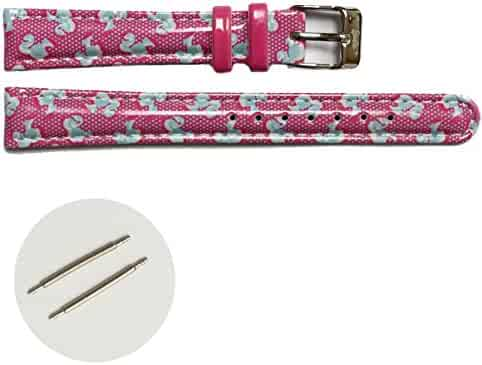 14mm Kid's Magenta Print Blue Faux Leather Girls Watch Band Straps USWB1015D14FB