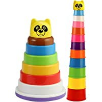 Nabhya Rings Stacking Rings Educational Pre School (Multicolor) (Combo of Rack N Stack and Build Breaker)