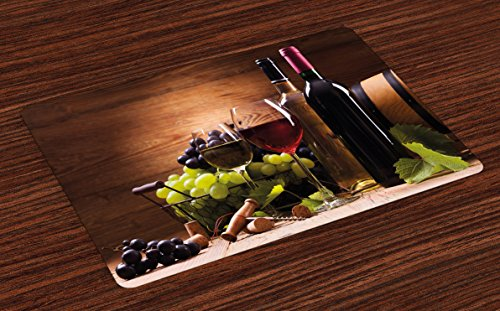 - Ambesonne Wine Place Mats Set of 4, Glasses of Red and White Wine Served with Grapes French Gourmet Tasting, Washable Fabric Placemats for Dining Room Kitchen Table Decor, Brown Ruby