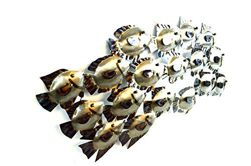 Huge beautiful unique silver nautical school of fish metal for School of fish wall art