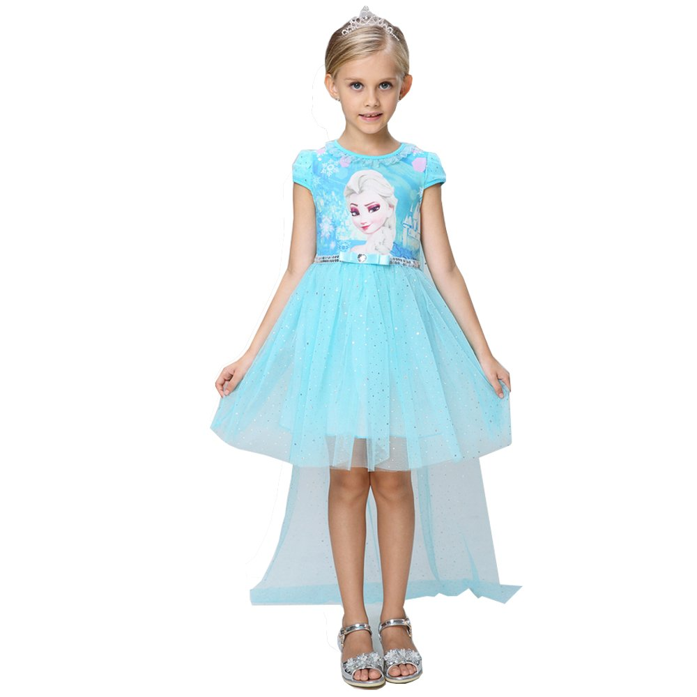 e-super Snow Queen Elsa Princess Girls' Short Sleeve Lace Tulle Flower Party Dress Costume Mesh Skirt Smock Growing up (140cm (5-6 Years Old), Blue)