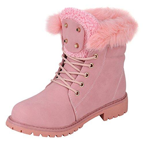 Stiefelparadies Warm Gefütterte Damen Stiefeletten Fell Worker Boots Outdoor Schuhe Flandell Rosa Camiri