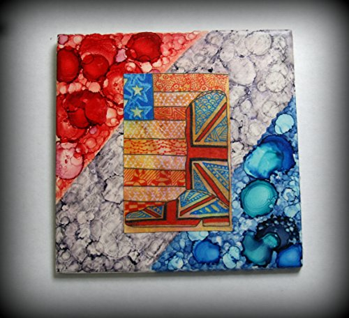 One of a kind, USA & UK art on hand painted 6x6 tile