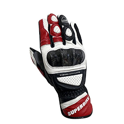Men's Genuine Leather Motorcycle Gloves Knuckle Protect Racing Gloves M,L,XL (01.Red, XL)