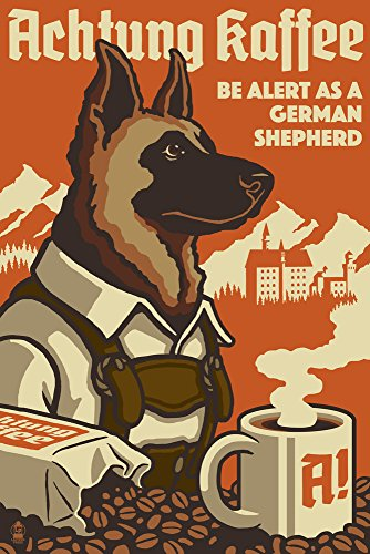 German Vintage Poster - Lantern Press German Shepherd - Retro Coffee Ad (9x12 Art Print, Wall Decor Travel Poster)