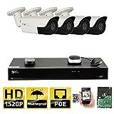 GW 8 Channel H.265 NVR 4MP (2592 x 1520) Power Over Ethernet IP Camera System, 4pcs 4MP 1520p 2.8-12mm Varifocal Zoom POE Weatherproof Bullet Security Cameras, 130ft Night Vision For Sale