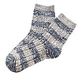 Sayhi Women Christmas Socks Striped Print Socks Warm Winter Crew Socks Holiday Slipper Socks Holiday Gift (Blue,Free Size)
