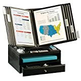 Ultimate Office WoodWorx 10-Pocket Desk Reference Organizer w/ Letter Tray & Supply Drawer, (Black w/ Black Pockets)