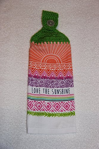 Crocheted Love the Sunshine Kitchen Towel with Spring Green Yarn