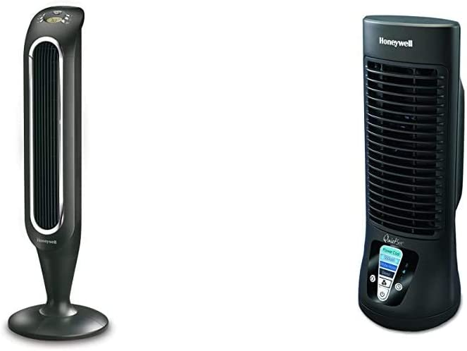 Honeywell Fresh Breeze Tower Fan with Remote Control HYF048 Black With Programmable Thermostat, Timer Shut-Off Function & Dust Filter & HTF210B Quiet Set Personal Table Fan