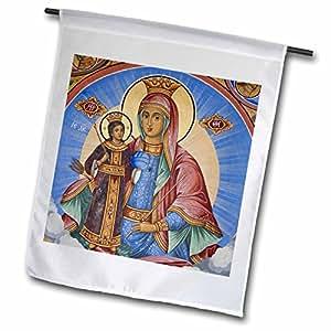 Danita Delimont–Religión–Bulgaria, Monasterio de Rila, la UNESCO, frescos, Jesús y Virgen María–banderas