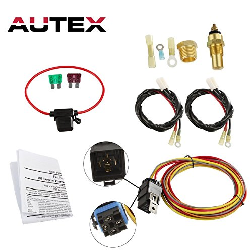 - AUTEX NEW Dual Electric Cooling Fan 185 Degree On 165 Off Engine Fan Thermostat Temperature Switch 40/50 amp Relay Kit