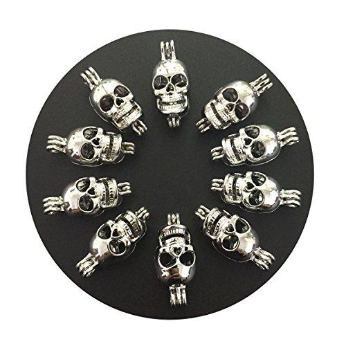Silver Skull Locket Necklace - 7