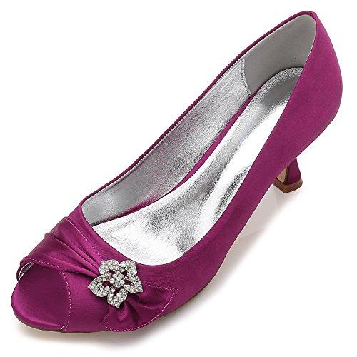 Mujeres Abierto yc F17061 Del Las Purple Satén Dedo L Noche Vestido Zapatos Pie Cómodo Rhinestone Invierno 60 Boda Y De AqOwX