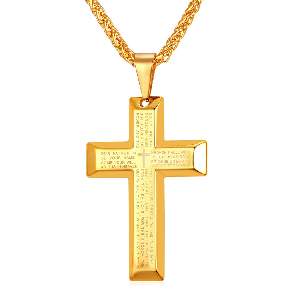 U7 Stainless Steel Base Simple Black Gun 18K Gold Plated Cross Pendant English Lord's Prayer Necklace U7 Jewelry U7 GP2193H