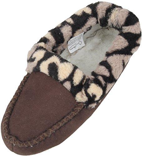 KS Brands - Zapatillas de estar por casa para mujer marrón - marrón