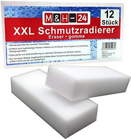 M&H-24 Schmutzradierer Schwamm Premium XXL Groß - Radierschwamm Wunderschwamm Zauberschwamm Reinigungsschwamm für Wand Tapete Schuhe Fußboden 125 x 65 x 30 mm, Weiß 36 Stück