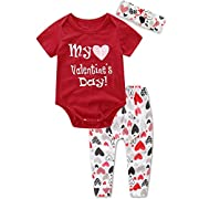 Ant-Kinds 3Pcs Newborn Infant Baby Girl Romper+Pants+Headband Valentine's Day Outfits (0-6M, Red)