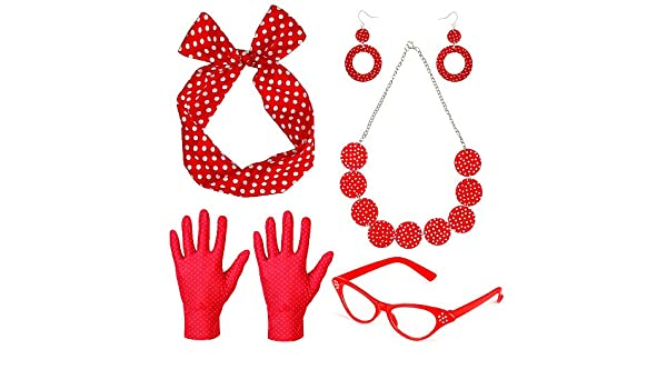 Beelittle 50s Women Costume Accessories Set Polka Dot Bandana Tie ...