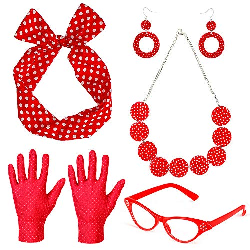 Beelittle 50's Costume Accessories Set 1950's Chiffon Scarf Cat Eye Glasses Bandana Tie Headband Drop Dot Earrings (Red ()