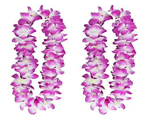 (2PCS Purple Hawaiian Garland for Graduation celebration, Hawaiian Leis Necklace Tropical Luau Hawaii Silk Flower Lei Theme Party Favors Wreaths Headbands Holiday Wedding Beach Birthday Decorations)