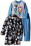 Yo-Kai Watch Boys' 3-Piece Pajama Set with Robe with Yo-Kai,Black/Blue,6/7