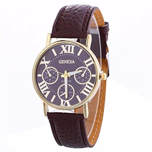 Women's Watches,Ankola Clearance Sale Creative Geneva Watch Leather Strap Belt Watch (Brown Leather Geneve Watch)