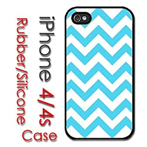 iPhone 4 4S Rubber Silicone Case - Baby Blue Teal Cevron Print Pattern