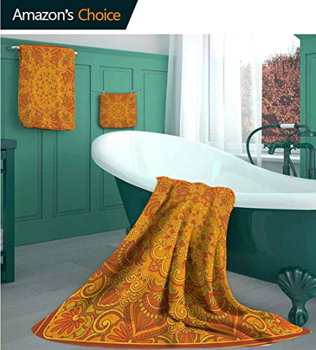 VROSELV 100% Cotton Bath Towel Set, Middle Old Fashioned Persian Carpet Design Retro Oriental Image, Use as Luxury Bath Towel, Yoga Towel, Travel Towel -L Marigold Orange Green