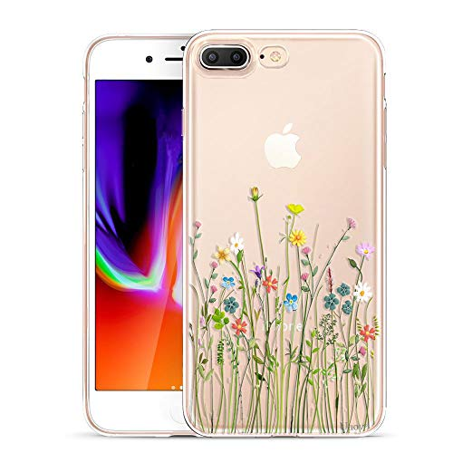 Unov Compatible Case Clear with Design Embossed Floral Pattern TPU Soft Bumper Shock Absorption Slim Protective Cover for iPhone 7 Plus iPhone 8 Plus 5.5 Inch(Flower Bouquet)