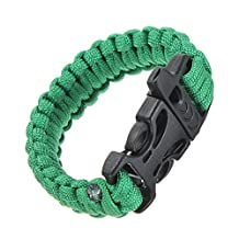 SODIAL(R) 11 Colors 550 Paracord Type III 7 Strand Parachute Cord Survival Bracelet + Whistle Buckle (Green)