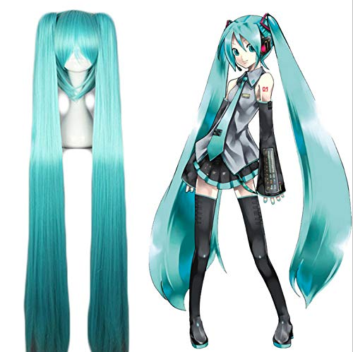 VOCALOID Cosplay Wig Hatsune Miku Costume Play Wigs Halloween party Anime Game Hair 120cm Aquamarine wig ()