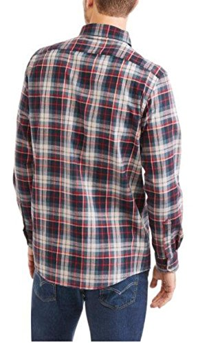 Faded Glory Men's Long Sleeve Textured Woven Shirt - Red White Blue (Small 34-36) from Faded Glory