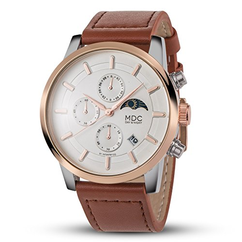 MDC Mens Classic Brown Leather Watch Chronograph Moon Phase Day/Night Indicator Business Casual Wrist Watches for Men (Moon Chronograph Phase Watch Wrist)