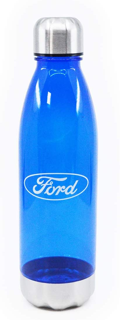 Helm for Ford Impress Water Bottle, BPA Free Plastic Cola Shaped Water Bottle with Stainless Steel Lid and Bottom, 24 Ounces, Blue