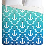 DENY Designs 51549-dlikin Jacqueline Maldonado Nautical Knots Ombre Blue Duvet Cover, Lightweight, King Size