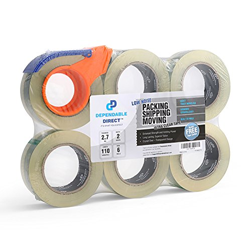 (Quiet, Industrial Grade Clear Packing Tape (6 Rolls) - 110 Yards per Roll - 2