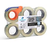 """Quiet, Industrial Grade Clear Packing Tape (6 Rolls) - 110 Yards per Roll - 2"""" Wide x 2.7 mil Thick, Acrylic Adhesive Heavy Duty Tape for Box Office Moving Packaging Shipping, Free Tape Cutter"""