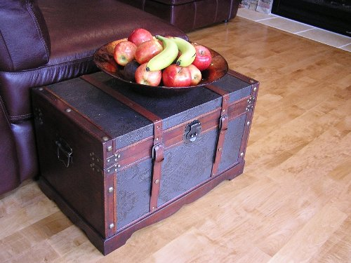 Saratoga Faux Leather Chest Wooden Steamer Trunk - Medium Trunk